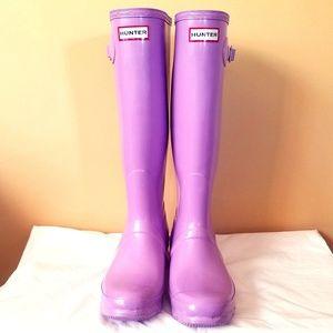 HUNTER Tall Original High Gloss Lavender Boots EUC